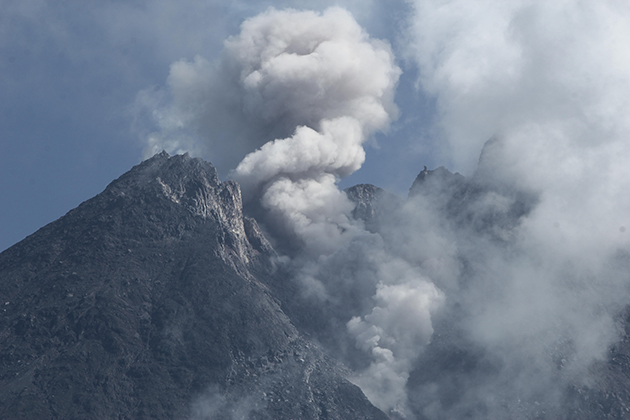 A smoking volcano. Photo.